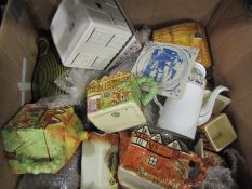 Two boxes of kitchen jars including cottage ware,