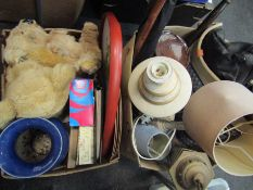 Two boxes of mixed items including large blue vase, teddy bear, door handles,