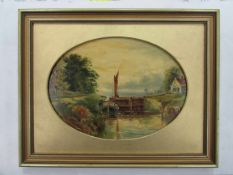 WITHDRAWN: A Dutch School oil on slate of boat on lock,