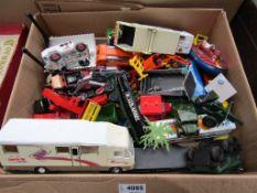 A box of mixed playworn diecast vehicles including Corgi double decker bus,
