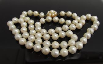 A single strand of pearls with 9ct gold clasp,