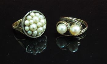 Two pearl set rings, one stamped 18ct/9ct. Size Q, the other unmarked. Size R, 14.