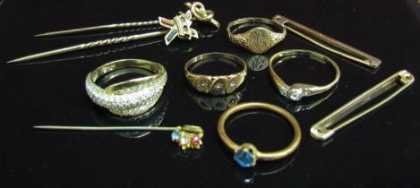 Five stick pins and five various rings