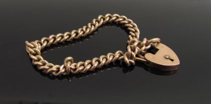 A 9ct gold bracelet with padlock clasp, 19.