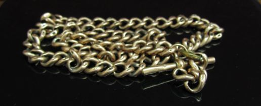 A 9ct gold watch chain with T-bar (worn) 45cm long,