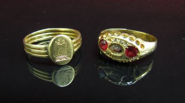 Two 18ct gold rings one with crest, one stones a/f, 5.
