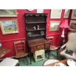 Circa 1790 a Lancashire/Cheshire oak and fruitwood dresser and rack of three drawers with fan and