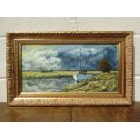 A 20th Century oil on canvas depicting boat on the Broads. Signed Lewin 24.