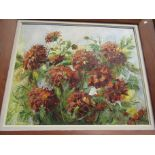 A circa 1970 oil on board, chrysanthemums still life, indistinctly signed,