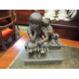 "A heavy resin bronze figure ""childhood days"" 22cm x 17cm"