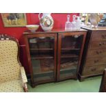 A late 19th Century mahogany glazed two door bookcase with adjustable shelves,