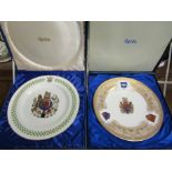 """Two limited edition Spode cabinet plates including """"St Edward Plate"""" commemorating Westminster"""