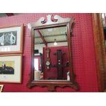 A Georgian style mahogany fretwork framed pier mirror,
