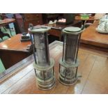 Two brass fitted miners lamps with mesh chimneys