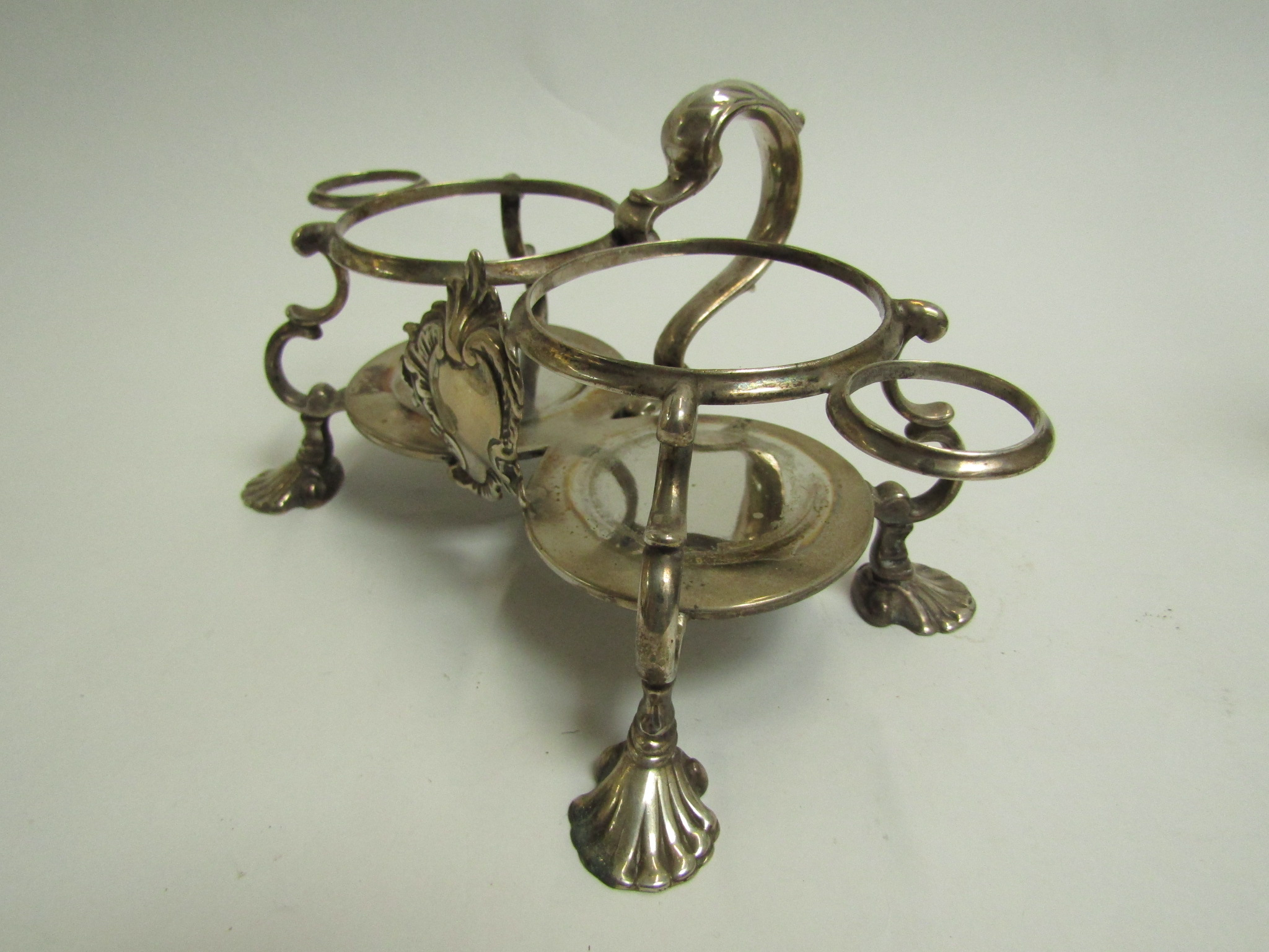 A George II Jabez Daniell silver oil and vinegar stand, - Image 4 of 4