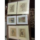 Four comical etchings relating to horse jumping and others