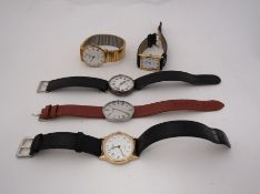 Five various watches including Sekonda, silver Trench watch, Favre-Leuba,