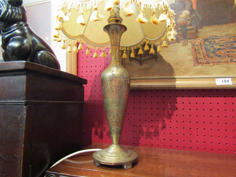A brass table lamp with eastern pattern and shade. - Image 2 of 2