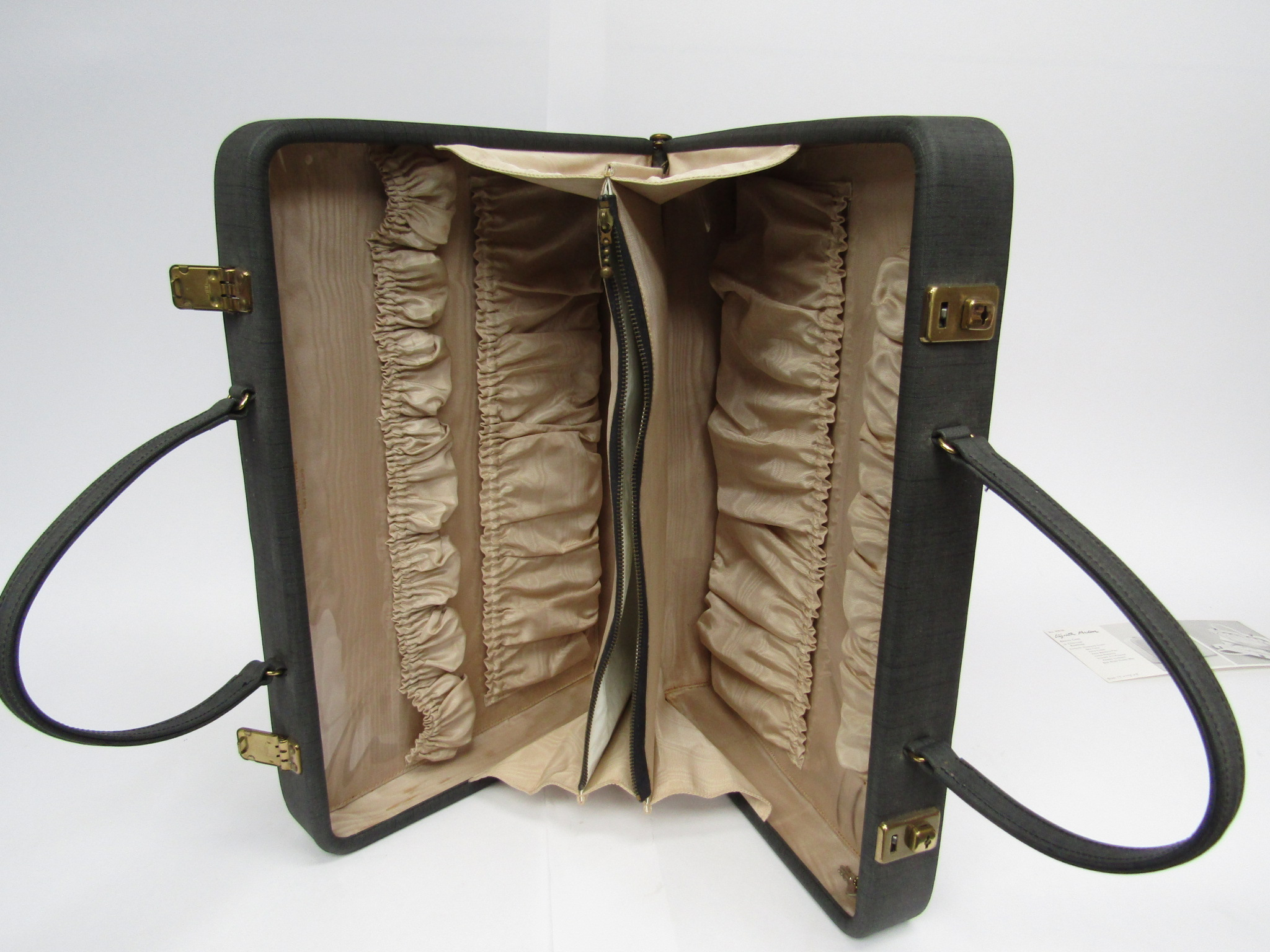 Elizabeth Arden beauty/vanity case in charcoal, beige ruched interior, - Image 2 of 3