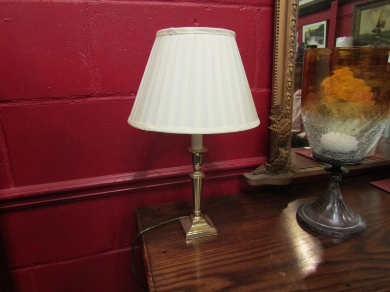 A pair of brass table lamps with cream pleated shades, - Image 2 of 2