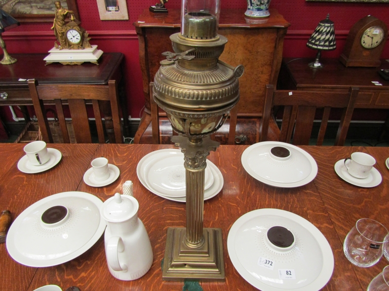 A brass oil lamp with acanthus Corinthian column, square stepped base, - Image 2 of 2
