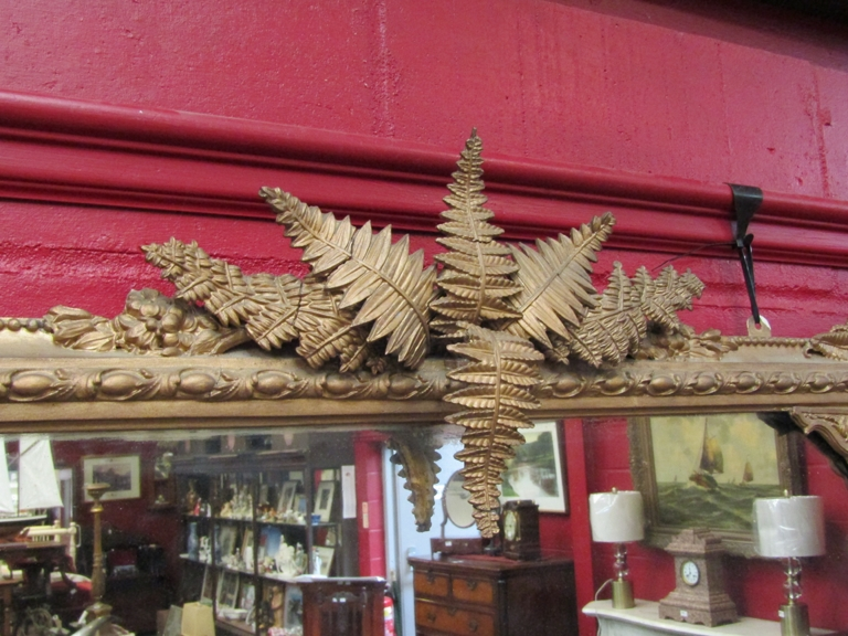 A 19th Century gilt gesso overmantel wall mirror with foliate mounts a/f, - Image 2 of 3