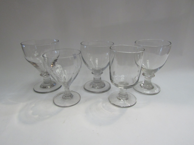 Five Georgian and Victorian glass rummers