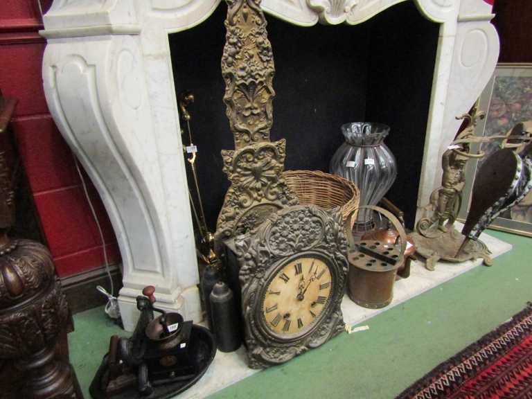 A 19th Century French Comtoise wall clock, embossed floral surround and Roman dial,