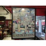 """""""London The City"""" coloured print by Chris Rogers, signed by artist, framed and glazed,"""