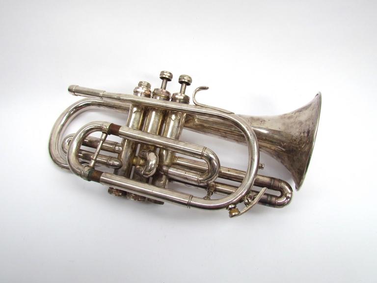 A Clippertone silver plated Cornet,