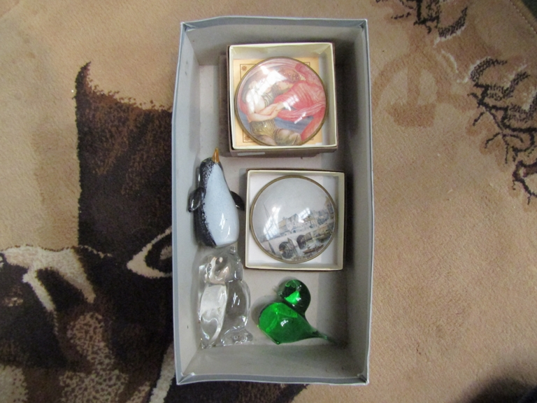 Six various glass paperweights including penguin and owl