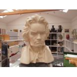 A bust of Beethoven in white ceramic,