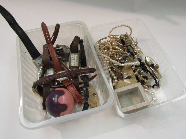 A quantity of wristwatches and jewellery including WWI trench watch