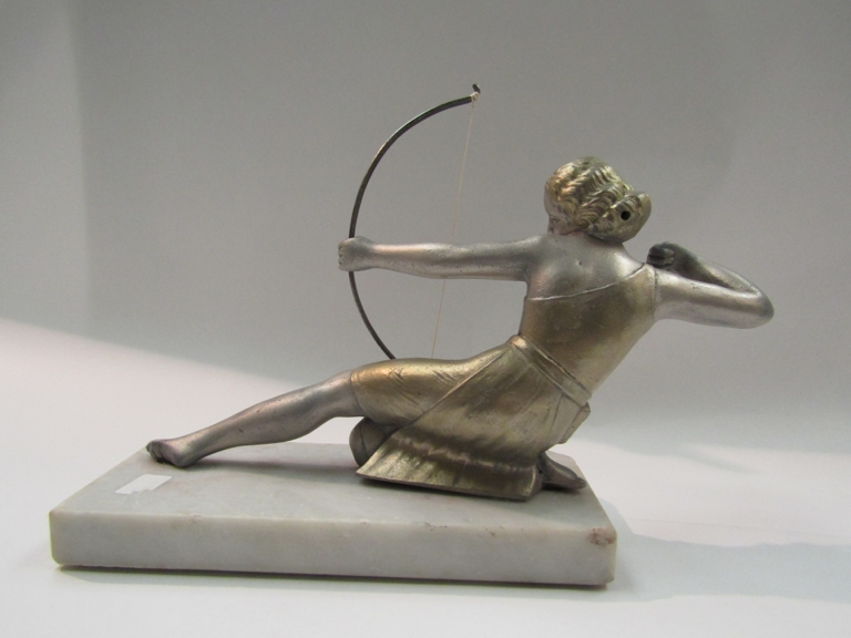 A figure of Diana The Huntress on a marble base, - Image 2 of 2