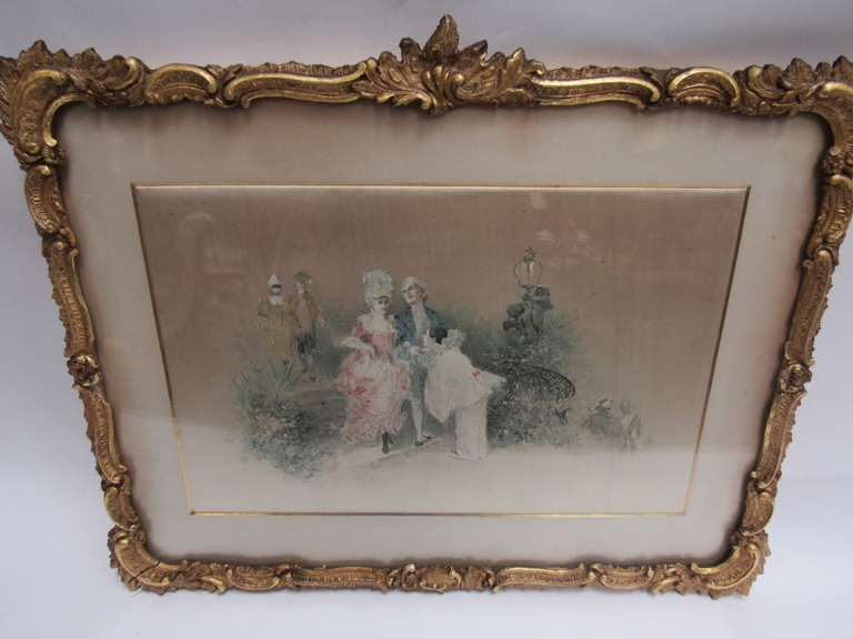 """A 19th Century picture on silk in an ornate gilt frame, """"Entrance to The Ball"""","""