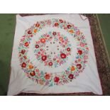 """A Hungarian hand embroidered square tablecloth, 49"""" x 49"""", multicoloured,"""