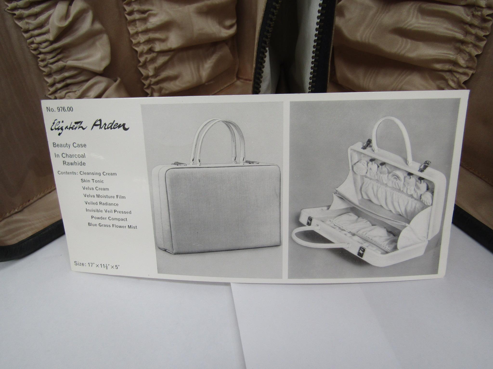 Elizabeth Arden beauty/vanity case in charcoal, beige ruched interior, - Image 3 of 3