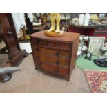 A miniature two over three chest of drawers, (handle missing), 38cm x 37.