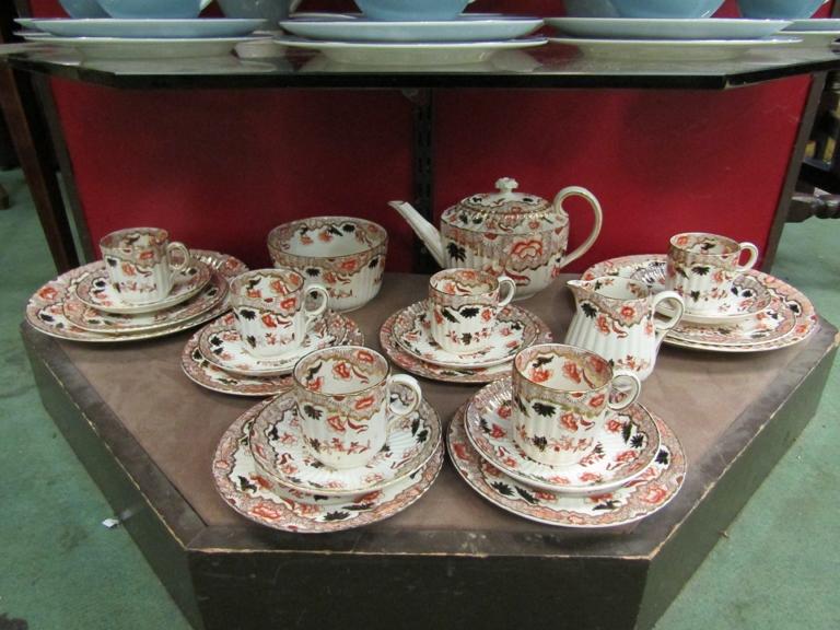 A Victorian Imari tea set for six place settings,