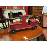 A bygone wooden steam engine model, monogrammed SWP no 364,
