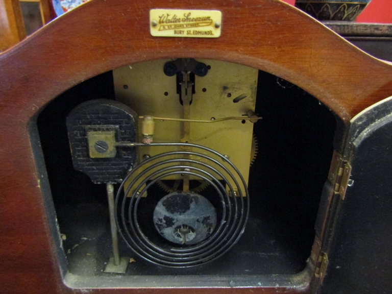 An Art Deco walnut mantel clock with Arabic dial, - Image 2 of 2