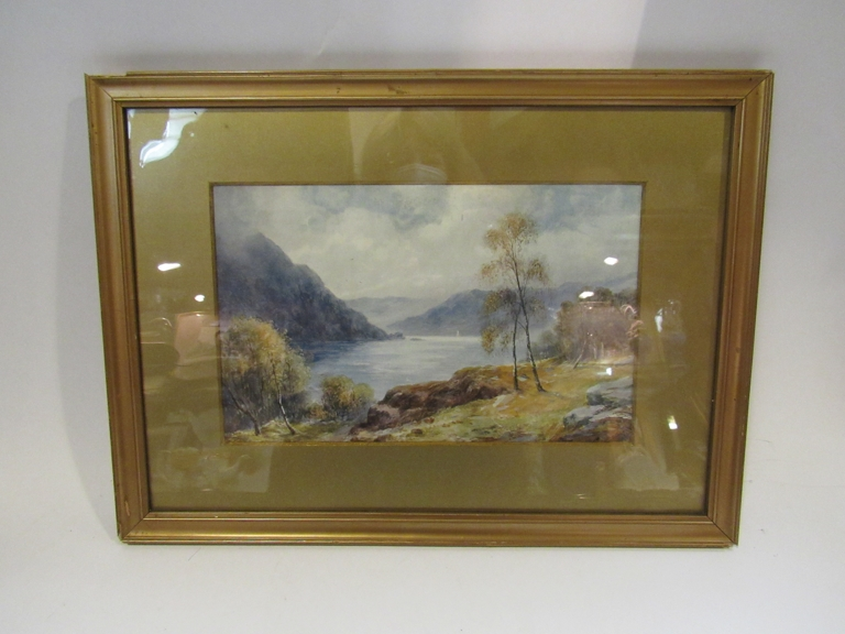A watercolour depicting mountainous water landscape, unsigned, framed and glazed,