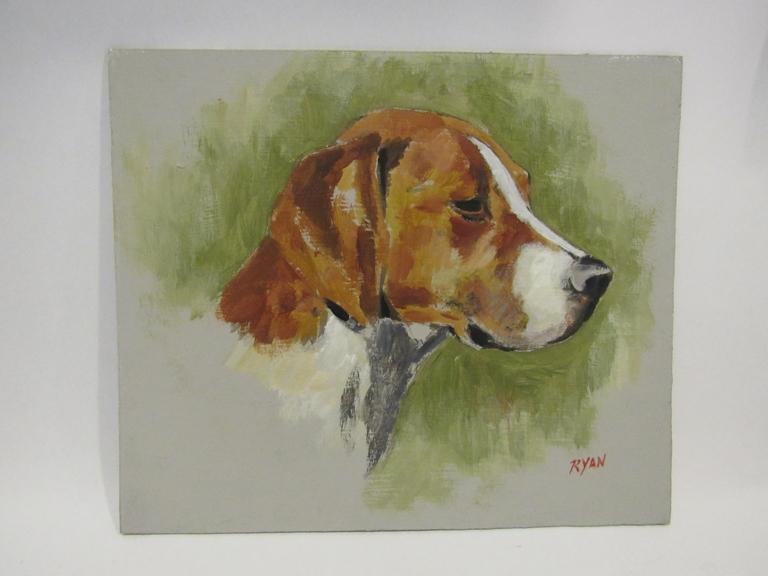 RYAN: An acrylic on board of a hound,
