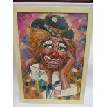 An oil on canvas of clown, vibrant colours, St.