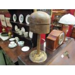 A 1930's Milliners hat block on stand.