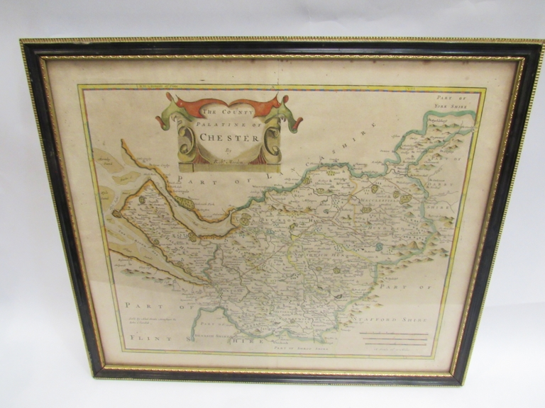 A 17th Century map of Cheshire by Robert Morden, framed and glazed. 35cm x 42cm.