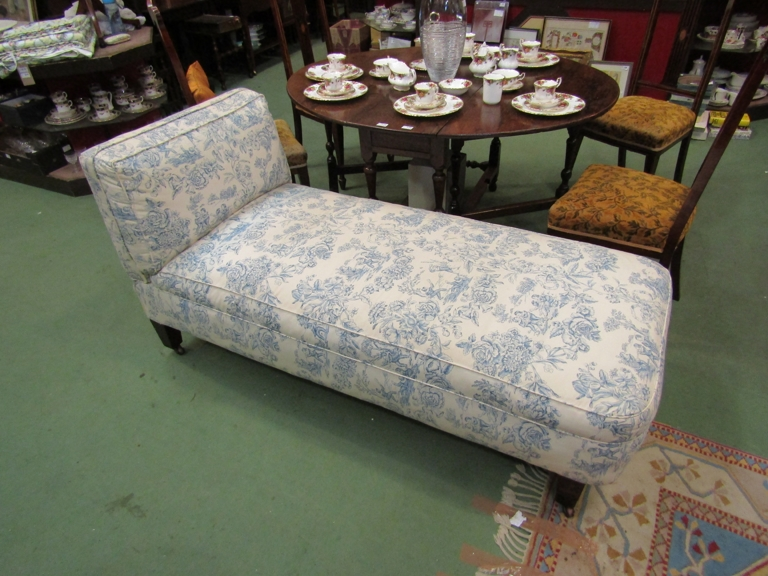 A Howards' style late Victorian reclining day bed with Trompe L'oeil upholstery,