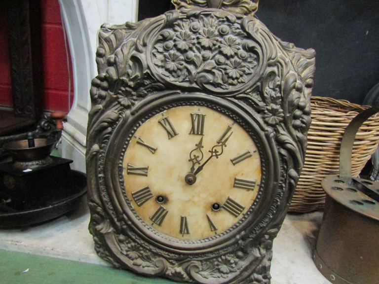 A 19th Century French Comtoise wall clock, embossed floral surround and Roman dial, - Image 2 of 2