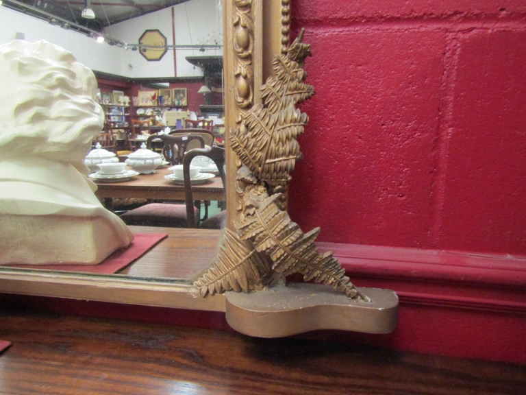 A 19th Century gilt gesso overmantel wall mirror with foliate mounts a/f, - Image 3 of 3