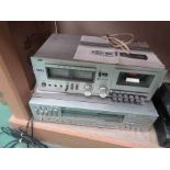A JVC KD-10 stereo cassette deck and boxed JVC R-S77 digital synthesizer stereo receiver (2-a/f)